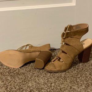 JustFab Shoes - Suede Lace Up Wedges